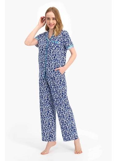 Arnetta Marine Floral Mavi Kadın Gömlek Pijama Mavi